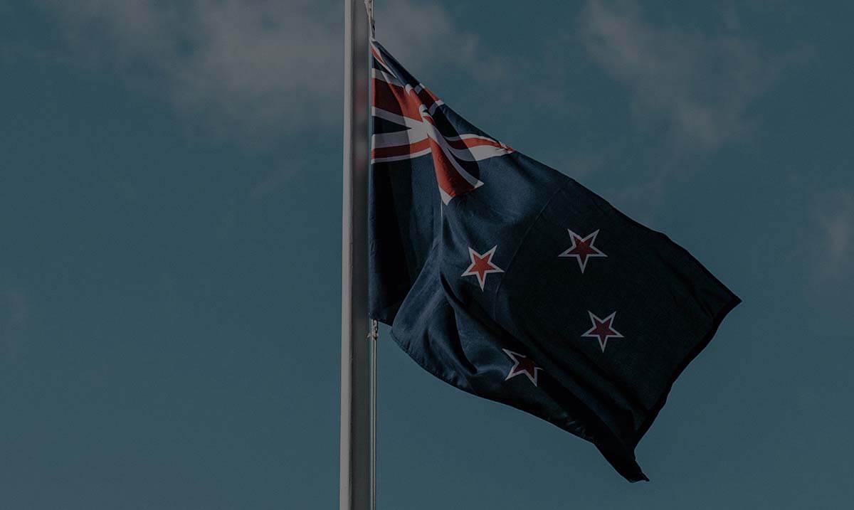 Gros plan sur le drapeau néo-zélandais