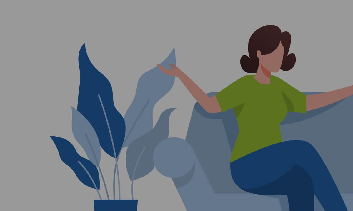 Illustration d'une femme assise dans un canapé